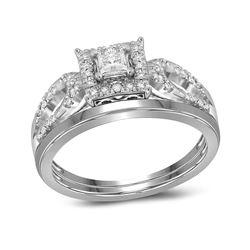 Diamond Round Bridal Wedding Engagement Ring Band Set 1/4 Cttw 10kt White Gold