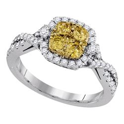 Round Natural Canary Yellow Diamond Square Cluster Ring 1.00 Cttw 14kt White Gold