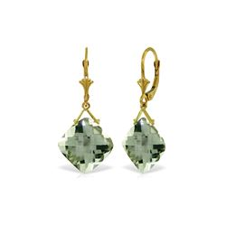Genuine 17.5 ctw Green Amethyst Earrings 14KT Yellow Gold - REF-39A3K