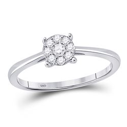 Diamond Fashion Cluster Ring 1/6 Cttw 10kt White Gold