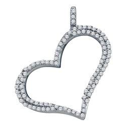 Diamond Outline Heart Pendant 1/3 Cttw 10kt White Gold