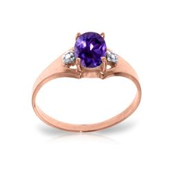 Genuine 0.76 ctw Amethyst & Diamond Ring 14KT Rose Gold - REF-20Y8F