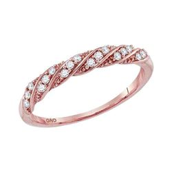 Diamond Stripe Stackable Fashion Band Ring 1/8 Cttw 10kt Rose Gold