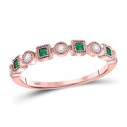 Emerald Diamond Square Dot Milgrain Stackable Band Ring 1/8 Cttw 10kt Rose Gold