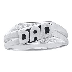 Mens Diamond Dad Father Ring .01 Cttw 14kt White Gold