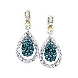 Round Blue Color Enhanced Diamond Teardrop Dangle Earrings 5/8 Cttw 10kt Rose Gold