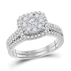 Diamond Bridal Wedding Engagement Ring Band Set 5/8 Cttw 10kt White Gold