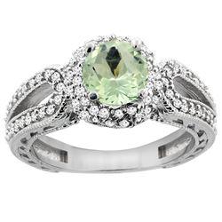 1.25 CTW Amethyst & Diamond Ring 14K White Gold - REF-86F7N