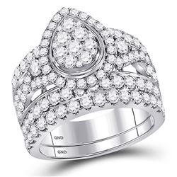 Diamond Teardrop Cluster Bridal Wedding Engagement Ring Band Set 3.00 Cttw 14kt White Gold