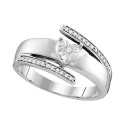 Diamond Solitaire Promise Bridal Ring 1/10 Cttw 14kt White Gold