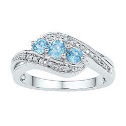 Round Lab-Created Blue Topaz 3-stone Diamond Ring 1/2 Cttw 10kt White Gold