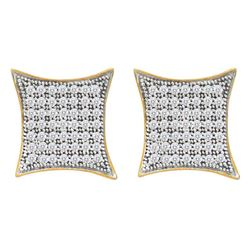 Round Pave-set Diamond Square Kite Cluster Earrings 1/3 Cttw 10kt Yellow Gold