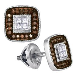 Round Brown Diamond Square Cluster Earrings 1/3 Cttw 10kt White Gold