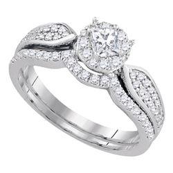 Diamond Bridal Wedding Engagement Ring Band Set 3/4 Cttw 14k White Gold