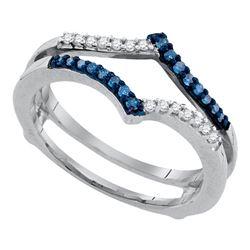 Round Blue Color Enhanced Diamond Ring Guard Wrap Enhancer Band 1/5 Cttw 10kt White Gold