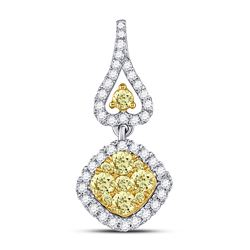 Round Yellow Diamond Diagonal Square Cluster Pendant 3/4 Cttw 14kt White Gold
