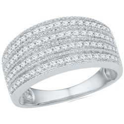 Diamond Four Row Milgrain Band Ring 1/2 Cttw 10kt White Gold