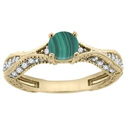 1.61 CTW Malachite & Diamond Ring 14K Yellow Gold - REF-67R9H