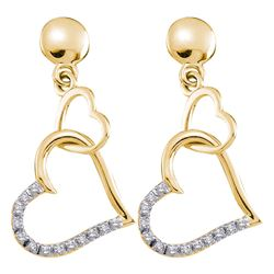 Diamond Linked Hearts Dangle Screwback Earrings 1/10 Cttw 14kt Yellow Gold