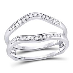 Diamond Ring Guard Wrap Solitaire Enhancer 1/4 Cttw 14kt White Gold