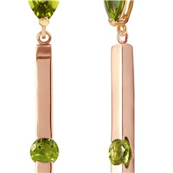 Genuine 4.25 ctw Peridot Earrings 14KT Rose Gold - REF-54Z6N