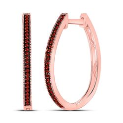 Round Red Color Enhanced Diamond Hoop Earrings 1/6 Cttw 10kt Rose Gold
