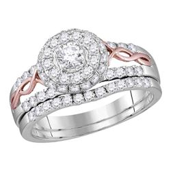 Diamond Halo Rose-tone Twist Bridal Wedding Engagement Ring Band Set 1.00 Cttw 14kt White Gold