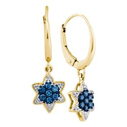 Round Blue Color Enhanced Diamond Star Cluster Dangle Earrings 1/4 Cttw 10kt Yellow Gold