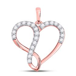 Diamond Heart Infinity Pendant 3/8 Cttw 10kt Rose Gold