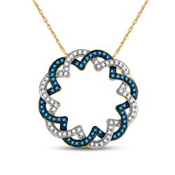 Round Blue Color Enhanced Diamond Circle Pendant 1/3 Cttw 10kt Yellow Gold