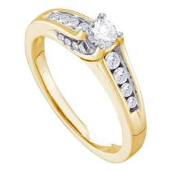 Diamond Solitaire Bridal Wedding Engagement Ring 1/2 Cttw 14kt Yellow Gold