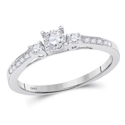 Diamond 3-stone Promise Bridal Ring 1/6 Cttw 10kt White Gold