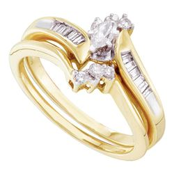 Marquise Diamond Bridal Wedding Engagement Ring Set 1/4 Cttw 10kt Yellow Gold