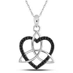 Round Black Color Enhanced Diamond Triquetra Heart Pendant 1/10 Cttw 10kt White Gold
