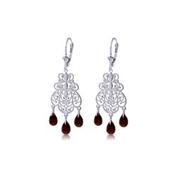 Genuine 3.75 ctw Garnet Earrings 14KT White Gold - REF-58K3V