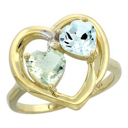2.61 CTW Diamond, Green Amethyst & Aquamarine Ring 10K Yellow Gold - REF-27H9M