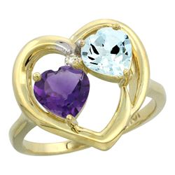 2.61 CTW Diamond, Amethyst & Aquamarine Ring 10K Yellow Gold - REF-27F9N