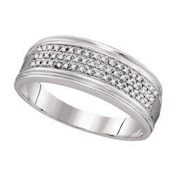 Mens Diamond Triple Row Wedding Anniversary Band Ring 1/10 Cttw 10kt White Gold