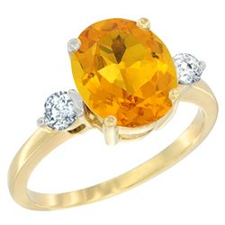 2.60 CTW Citrine & Diamond Ring 10K Yellow Gold - REF-62W2F