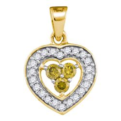 Round Yellow Color Enhanced Diamond Heart Frame Pendant 1/3 Cttw 10kt Yellow Gold