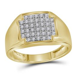 Mens Round Pave-set Diamond Square Cluster Ring 1/4 Cttw 10kt Yellow Gold