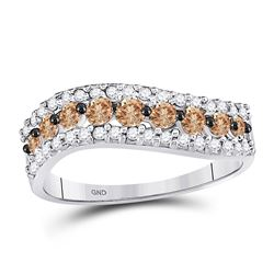 Round Brown Diamond Contoured Band 3/4 Cttw 10kt White Gold