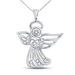 Diamond Guardian Angel Pendant 1/10 Cttw 10kt White Gold