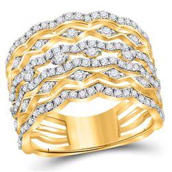 Diamond Modern Geometric Band Ring 1-1/3 Cttw 14kt Yellow Gold