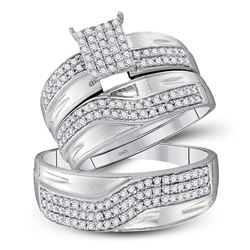 His & Hers Diamond Cluster Matching Bridal Wedding Ring Band Set 3/4 Cttw 10kt White Gold