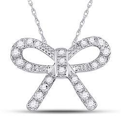 Diamond Knot Bow Pendant Necklace 1/10 Cttw 10kt White Gold