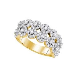 Diamond Double Row Circle Cluster Band 1-1/3 Cttw 14kt Yellow Gold