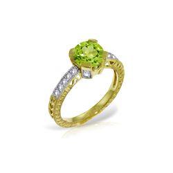 Genuine 1.80 ctw Peridot & Diamond Ring 14KT Yellow Gold - REF-98P3H