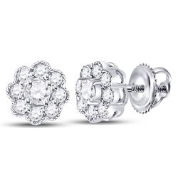 Diamond Flower Solitaire Stud Earrings 1/4 Cttw 14kt White Gold
