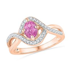 Oval Lab-Created Pink Sapphire Solitaire Twist Ring 1/2 Cttw 10kt Rose Gold